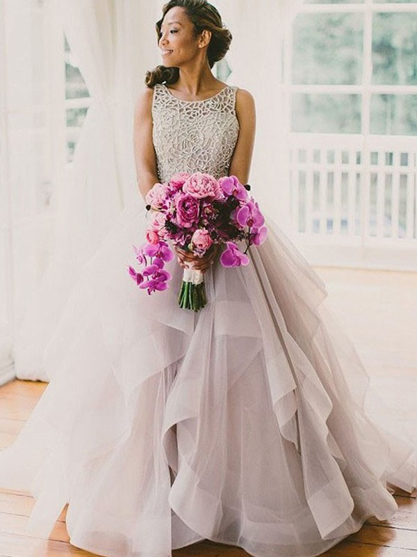 Fabulous Fit Ball Gown Scoop Beading Sweep/Brush Train Tulle Wedding Dresses