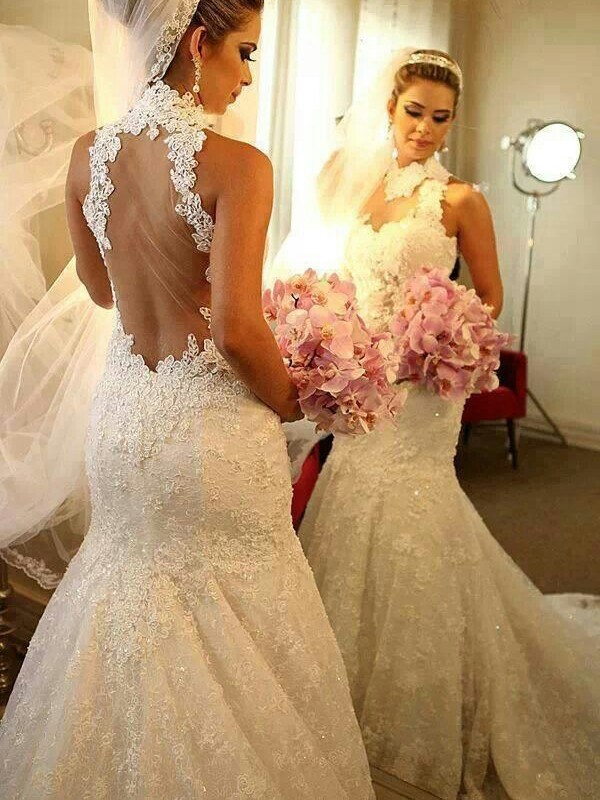 Defined Shine Mermaid Style High Neck Lace Court Train Wedding Dresses