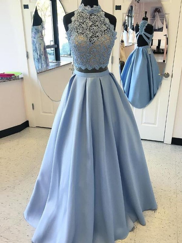 Too Much Fun Ball Gown High Neck Floor-Length Applique Satin Two Piece Dresses