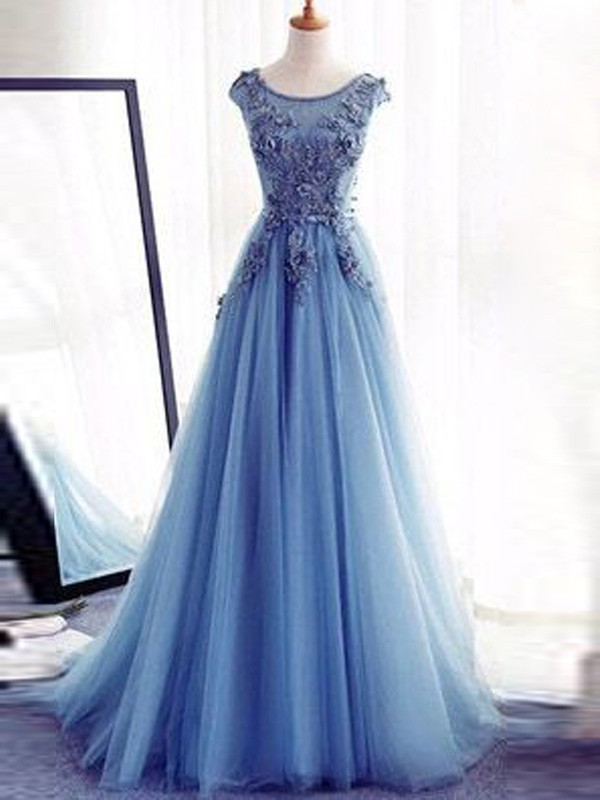 Just My Style Ball Gown Jewel Sweep/Brush Train Applique Tulle Dresses