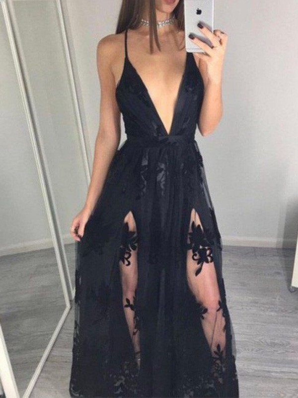 Eye-Catching Charm Princess Style Spaghetti Straps Tulle Floor-Length Applique Dresses