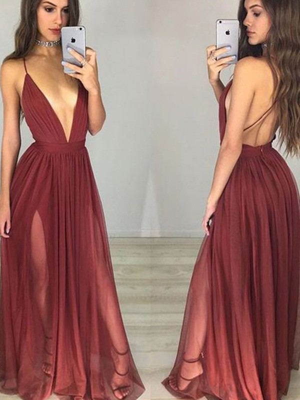 Intuitive Impact Princess Style Spaghetti Straps Chiffon Floor-Length Ruched Dresses