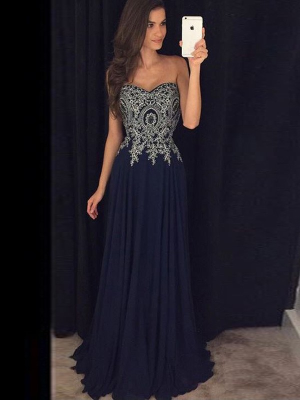 Limitless Looks Princess Style Sweetheart Floor-Length Chiffon Applique Dresses