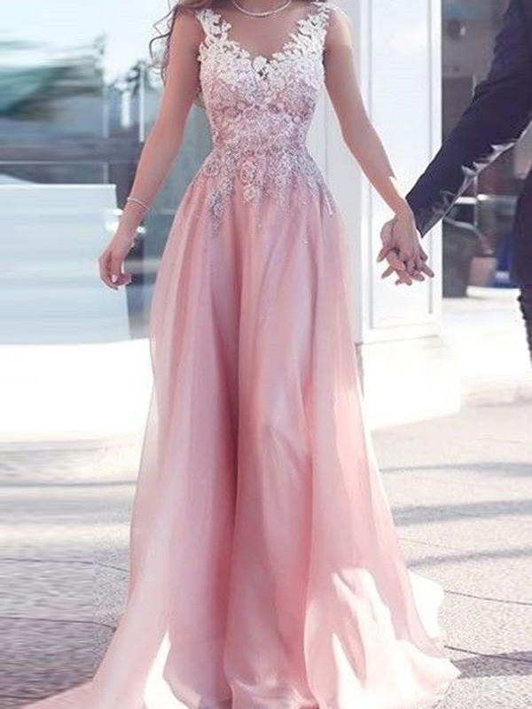 Desired Spotlight Princess Style Sweetheart Floor-Length Applique Chiffon Dresses