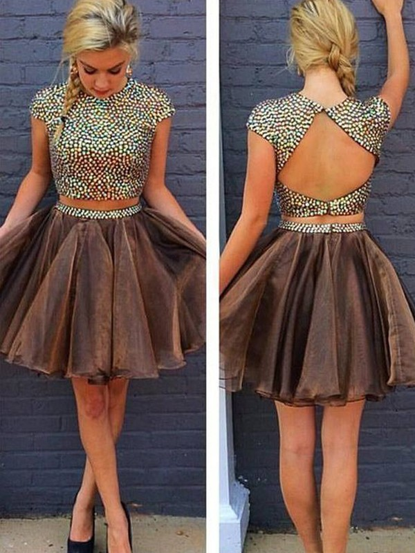 Creative Courage Princess Style Scoop Beading Short/Mini Organza Two Piece Dresses