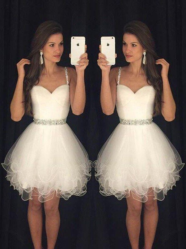 Comfortably Chic Princess Style Sweetheart Beading Tulle Short/Mini Dresses