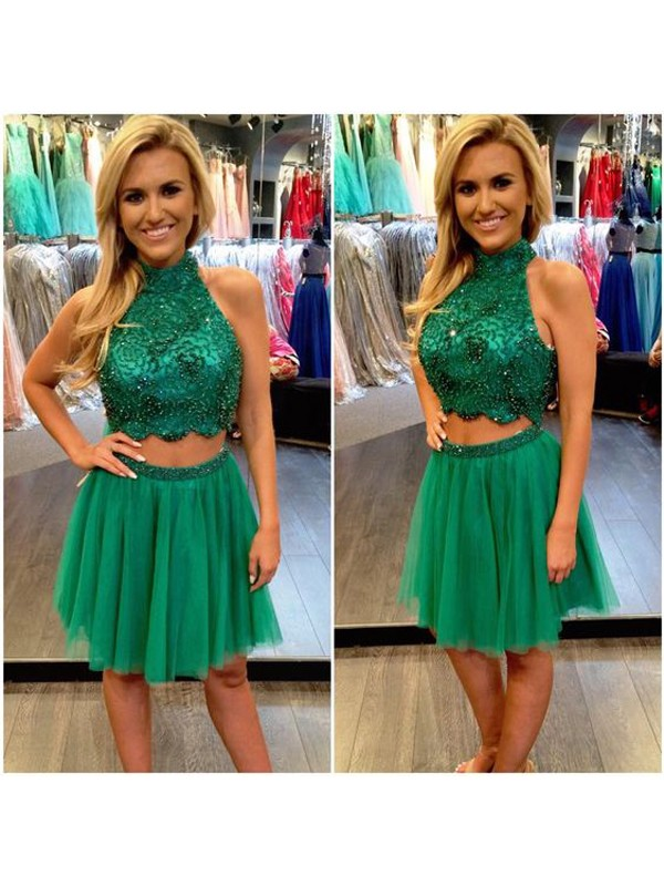 Pleased to be Me Princess Style High Neck Beading Tulle Short/Mini Two Piece Dresses