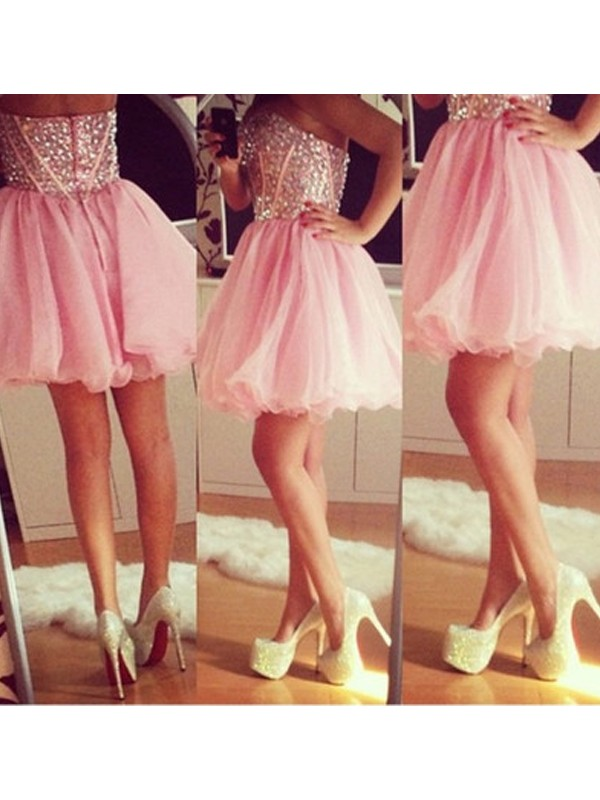 Easily Adored Princess Style Sweetheart Beading Tulle Short/Mini Dresses