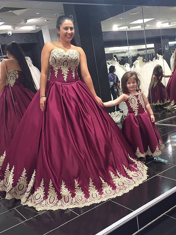 Comfortably Chic Ball Gown Sweetheart Satin Applique Floor-Length Plus Size Dresses