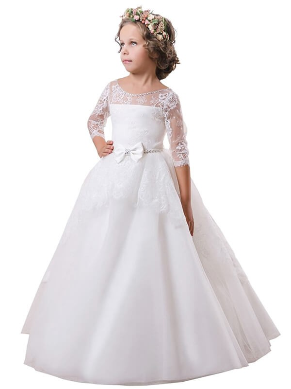 Time to Shine Ball Gown Jewel Lace Sweep/Brush Train Satin Flower Girl Dresses