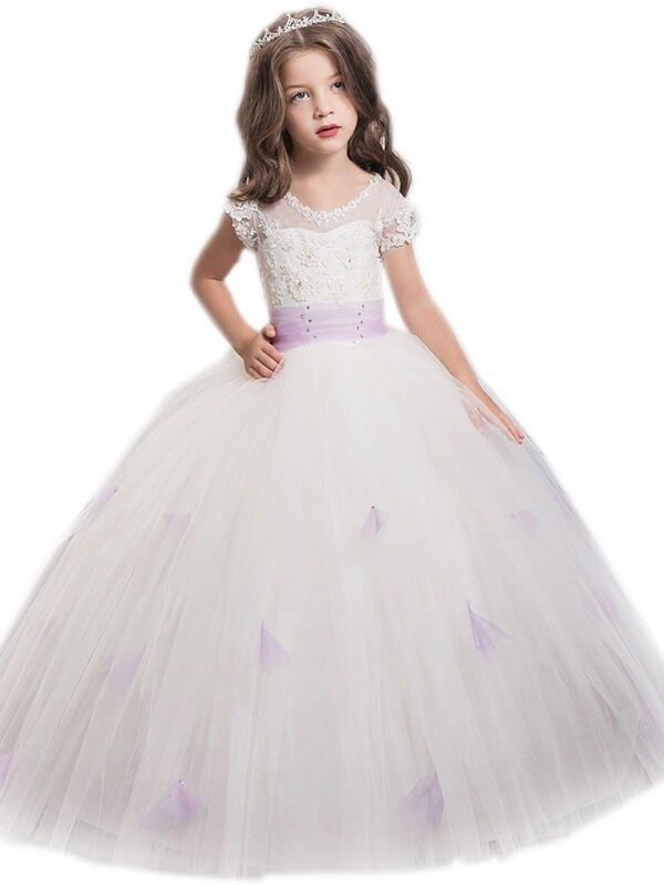 Styled to Smile Ball Gown Jewel Sash/Ribbon/Belt Floor-Length Tulle Flower Girl Dresses