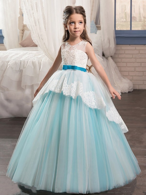 First Impressions Ball Gown Jewel Sash/Ribbon/Belt Floor-Length Tulle Flower Girl Dresses