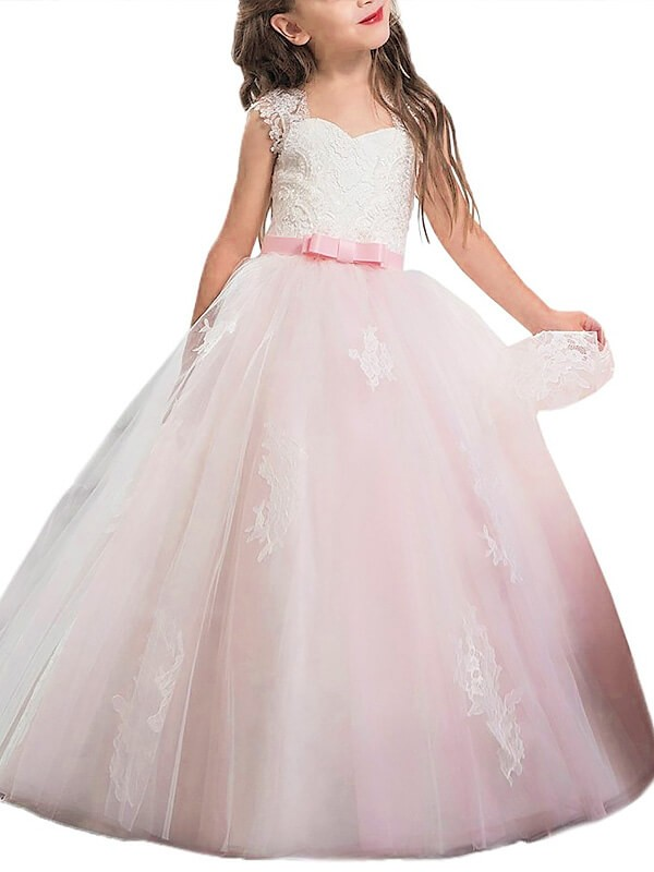 Confident Option Ball Gown Sweetheart Bowknot Floor-Length Tulle Flower Girl Dresses