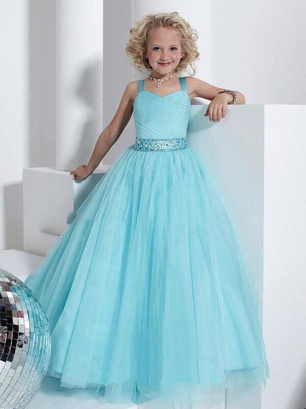 Too Much Fun Ball Gown Straps Crystal Floor-Length Tulle Flower Girl Dresses