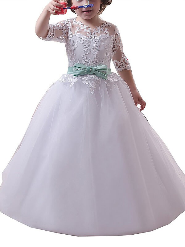 Stylish Refresh Ball Gown Jewel Lace Floor-Length Tulle Flower Girl Dresses