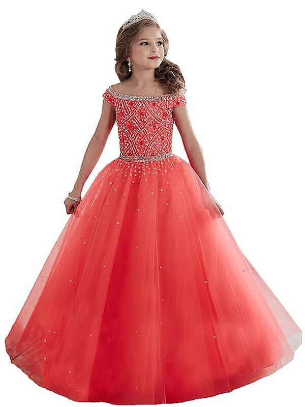 Yours Truly Ball Gown Off-the-Shoulder Beading Floor-Length Tulle Flower Girl Dresses