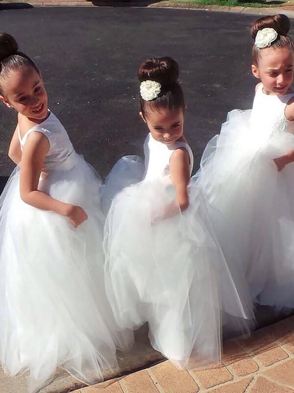 Just My Style Ball Gown Jewel Floor-Length Tulle Flower Girl Dresses