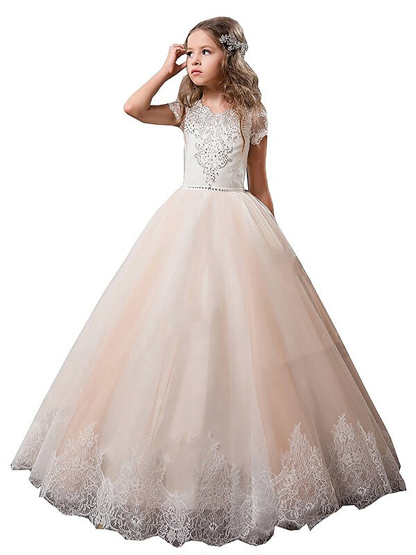 Beautiful You Ball Gown V-neck Lace Floor-Length Tulle Flower Girl Dresses