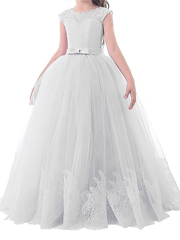 Pleasant Emphasis Ball Gown Jewel Bowknot Floor-Length Tulle Flower Girl Dresses