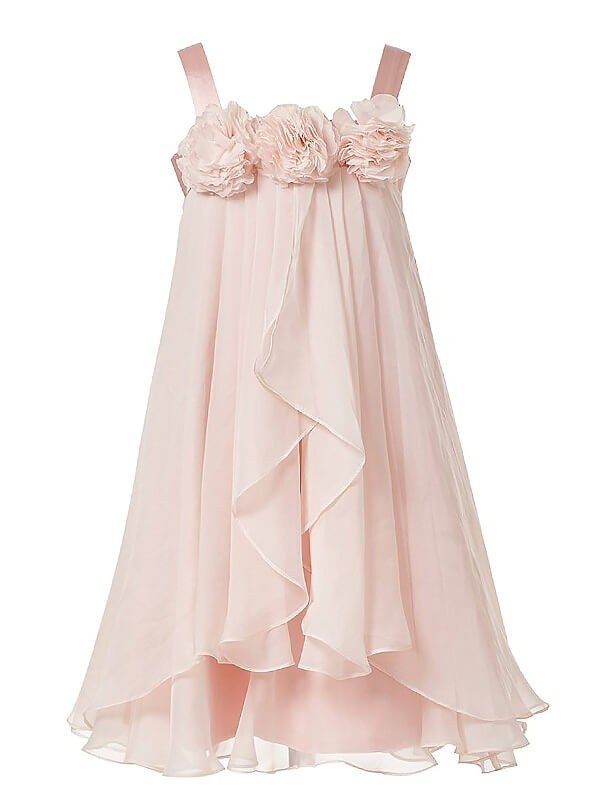 Stylish Refresh Princess Style Straps Hand-Made Flower Chiffon Ankle-Length Flower Girl Dresses