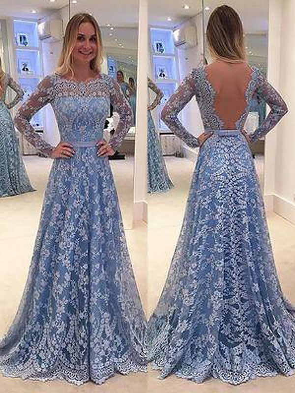 Glitz the Spot Princess Style Lace Floor-Length Bateau With Ruffles Dresses