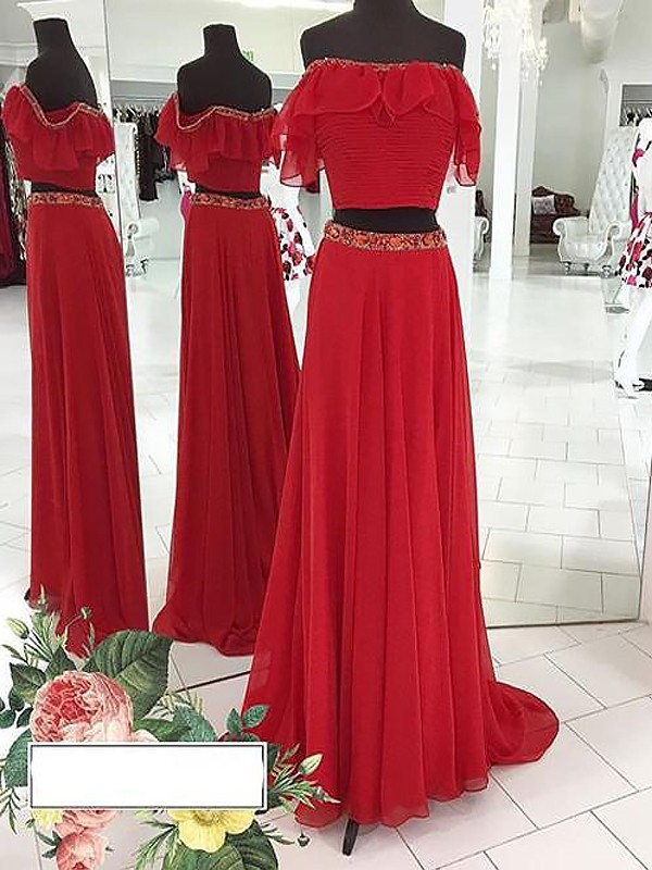 Stylish Refresh Princess Style Off-the-Shoulder Chiffon With Beading Floor-Length Two Piece Dresses