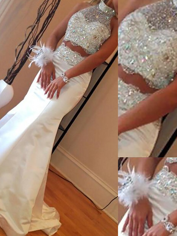 Beautiful You Mermaid Style High Neck Satin With Beading Sweep/Brush Train Two Piece Dresses