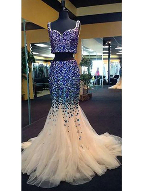 Touch of Texture Mermaid Style Sweetheart Tulle With Beading Sweep/Brush Train Two Piece Dresses