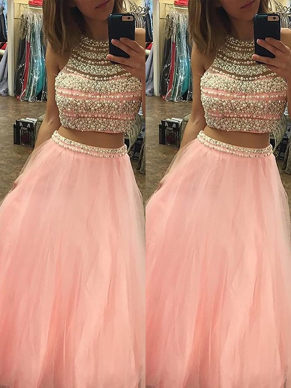 Modern Mood Princess Style Halter Tulle Floor-Length With Beading Two Piece Dresses