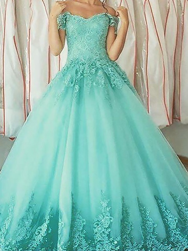 Styled to Smile Ball Gown Off-the-Shoulder With Applique Floor-Length Tulle Dresses