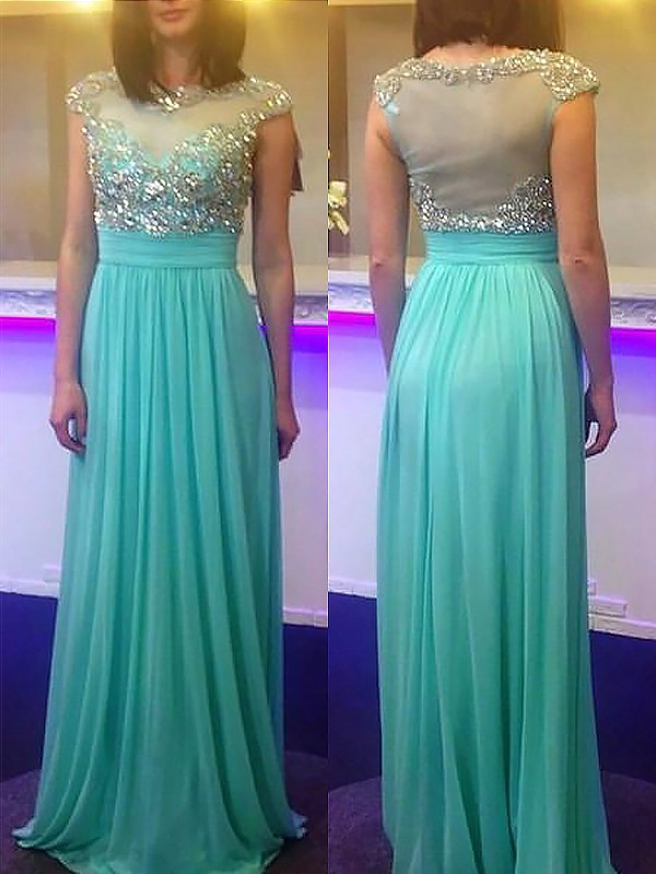 Embracing Grace Princess Style Bateau Floor-Length With Beading Chiffon Dresses
