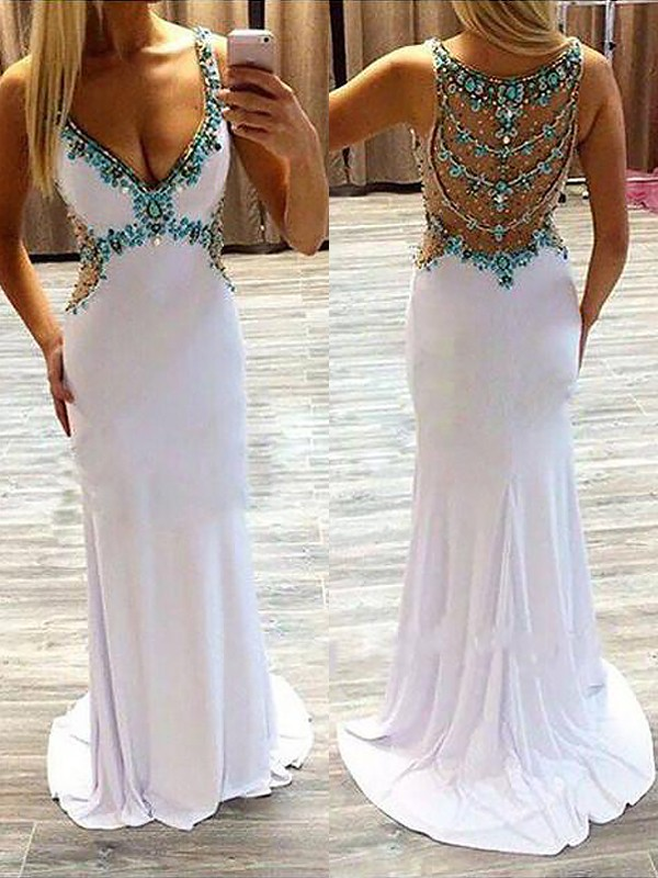 Styled to Smile Princess Style V-Neck Sweep/Brush Train With Beading Spandex Dresses