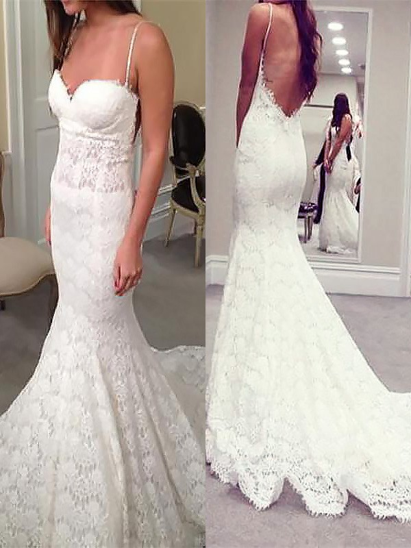 Fresh Picks Mermaid Style Spaghetti Straps Court Train Lace Wedding Dresses