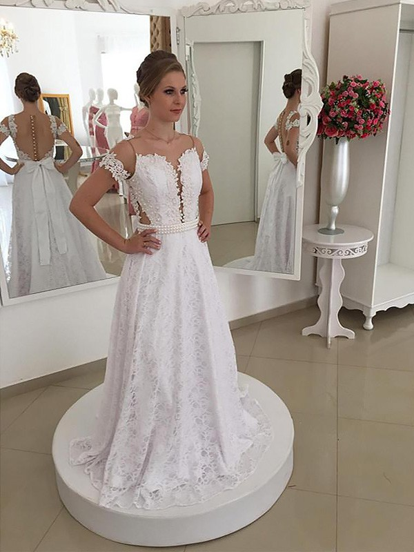 Beautiful You Princess Style Scoop Lace Sweep/Brush Train Wedding Dresses
