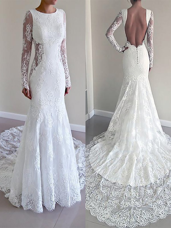 Easily Adored Mermaid Style Scoop Court Train Lace Wedding Dresses