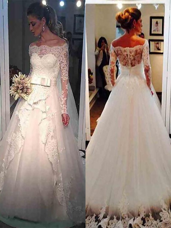 Embracing Grace Ball Gown Tulle Off-the-Shoulder Sweep/Brush Train Wedding Dresses
