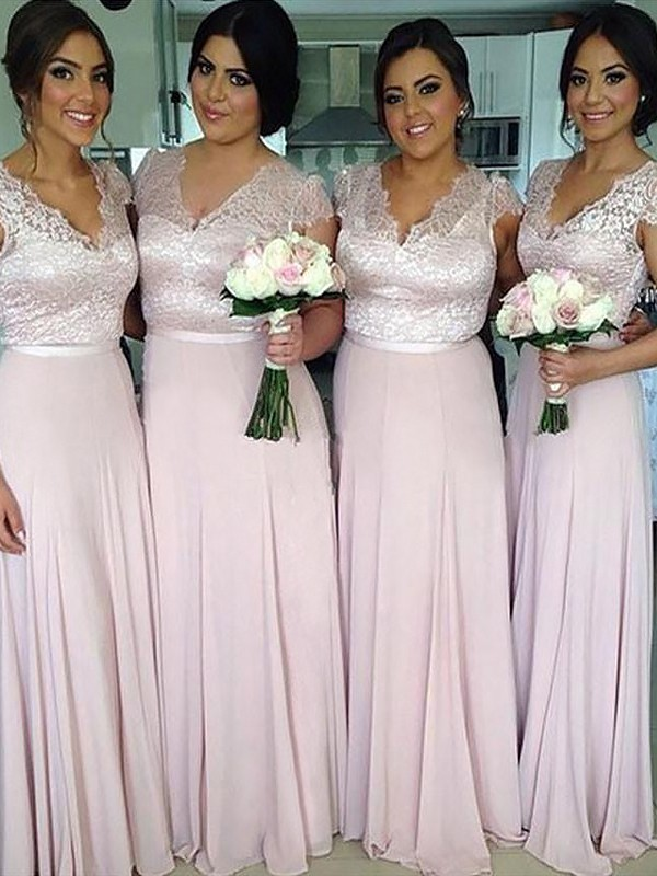 Aesthetic Honesty Princess Style V-neck Floor-Length Chiffon Bridesmaid Dresses