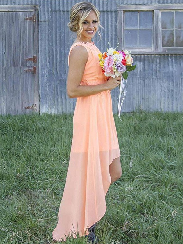 Treasured Reveries Princess Style Scoop Asymmetrical Chiffon Bridesmaid Dresses