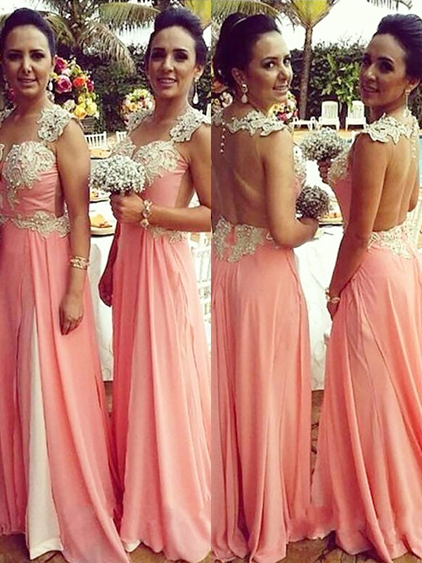 Voiced Vivacity Princess Style Straps Chiffon Applique Floor-Length Bridesmaid Dresses