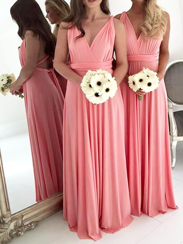 Confident Option Princess Style V-neck Floor-Length Spandex Bridesmaid Dresses