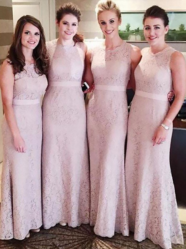 Fabulous Fit Sheath Style Lace Scoop Floor-Length Bridesmaid Dresses