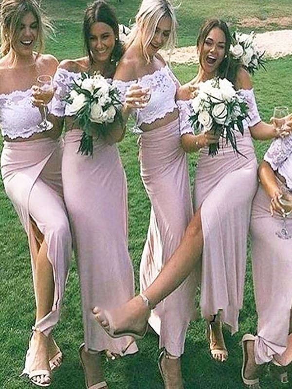 Lively Identity Sheath Style Jersey Off-the-Shoulder Floor-Length Bridesmaid Dresses