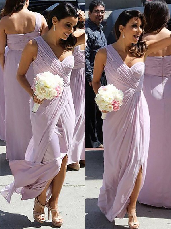 Just My Style Princess Style One-Shoulder Chiffon Ruched Floor-Length Bridesmaid Dresses
