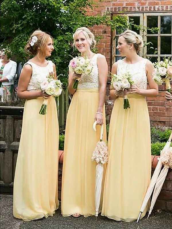 Naturally Chic Princess Style Scoop Chiffon Floor-Length Bridesmaid Dresses