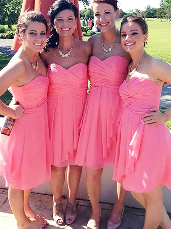 Dashing Darling Princess Style Short/Mini Sweetheart Chiffon Bridesmaid Dresses