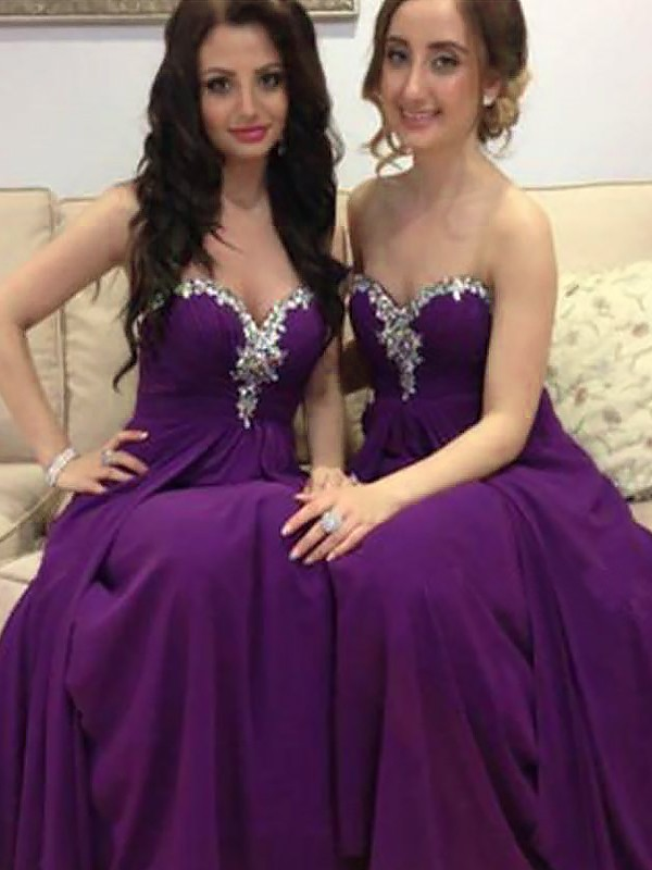Aesthetic Honesty Princess Style With Beading Sweetheart Chiffon Floor-Length Bridesmaid Dresses