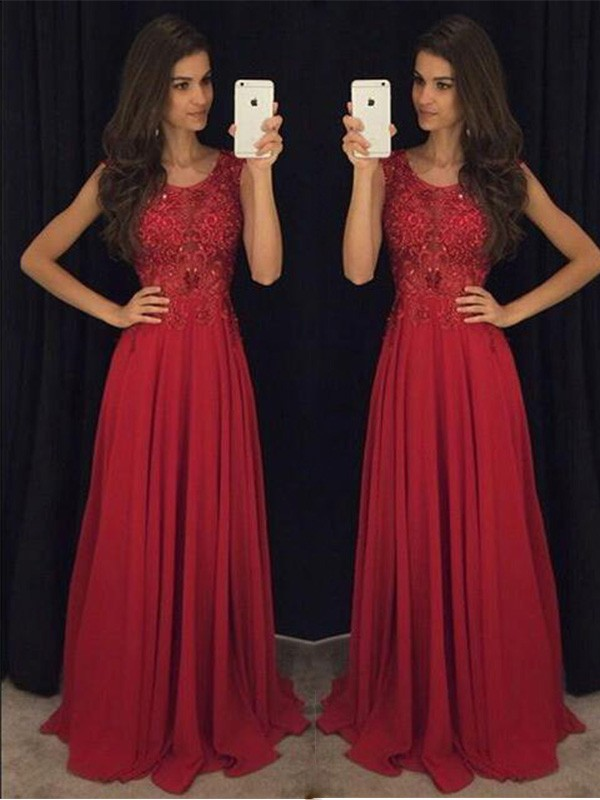 Fresh Picks Princess Style Scoop Chiffon Beading Floor-Length Dresses