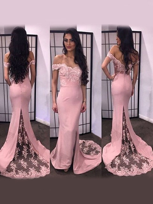 Dashing Darling Mermaid Style Off-the-Shoulder Lace Satin Sweep/Brush Train Dresses