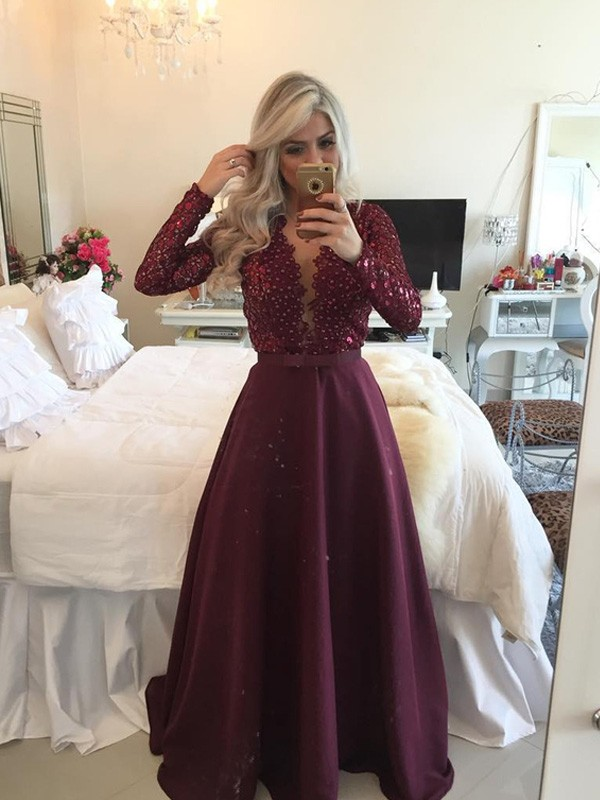 Pleased to be Me Princess Style Scoop Sequin Floor-Length Satin Dresses