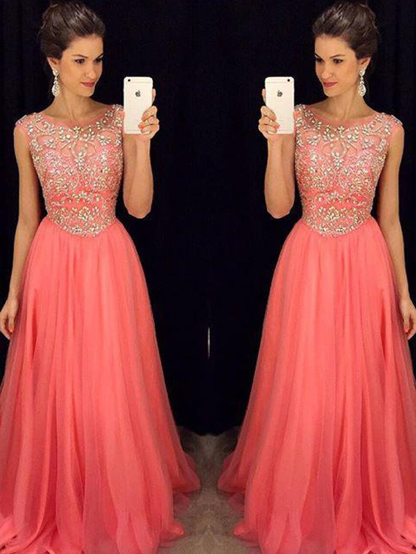 Memorable Magic Princess Style Scoop Beading Floor-Length Chiffon Dresses